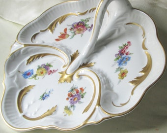 "1960sWest German Hand Decorated Porcelain Tray,Floral Decoration,Gold Accents and Trim,10""(25cm)L,10 1/2""(26.3cm)W.Ships Worldwide"