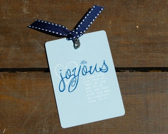Be Joyous with John 15:11 Bible Card . Accented with Ribbon and Charm