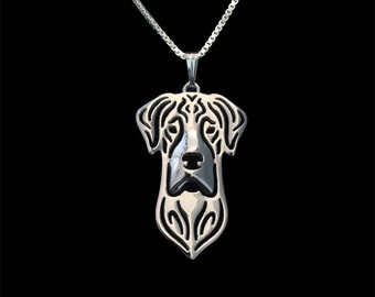 Natural eared Great dane jewelry - sterling silver