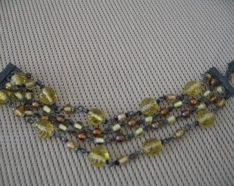 Vintage Four Strand Amber Colored Beaded Bracelet