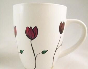 Hand Painted Coffee Mug - Tulip