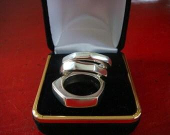 Sale//Trio Gucci Sterling Silver Assymetrical Rings Designer Vintage Modernist Design