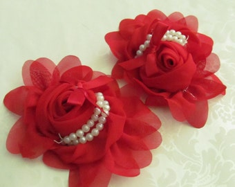 Red Fabric Flower / Hair Flower / 1pc