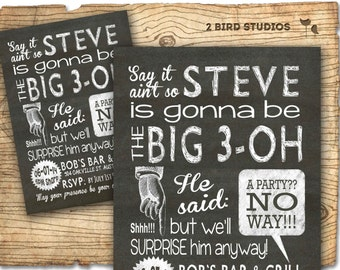 Surprise party invitation - adult surprise birthday invites - Surprise party chalkboard invitation - 30th birthday 40th 50th 60th