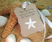 Customize Any Color and Message,10 Wedding Fancy Label Gift Favor Tags, Hand Embossed Star Fish Thank You Tag Beach Weddings Showers Kraft