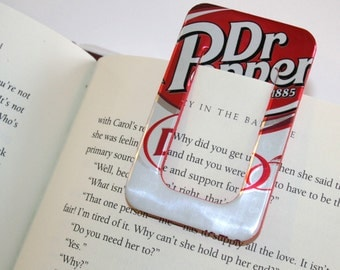 Diet Dr. Pepper - BOOKMARK & PAPER CLIP Set - from Recycled Soda Pop Can