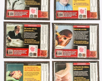 Player & Son Canadian Cigarette Coasters, Anti Smoking Campaign, Smokers, Awareness, Mug Rug Coffee Mat Drink Rest Upcycled Recycled Recycle