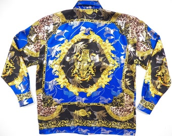 versace italy style mens large silk metallic blue gold shirt vintage rare floral leopard gold chain print atelier baroque luxurious hiphop