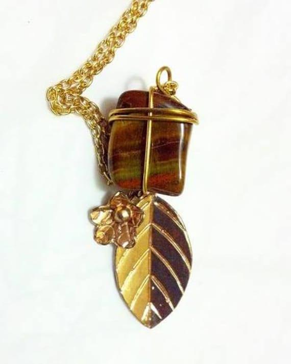 Tigerseye Cross Pendant Gold Necklace