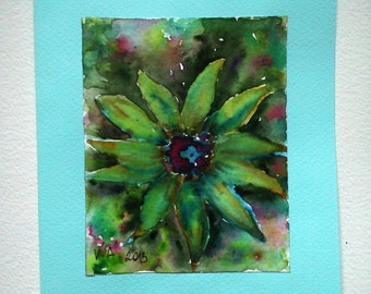 Flower Art Card Mother's Day Gift Unique Handmade Card Hand Painted Card Floral Art Greeting Card Birthday Gift Watercolor Card OOAK