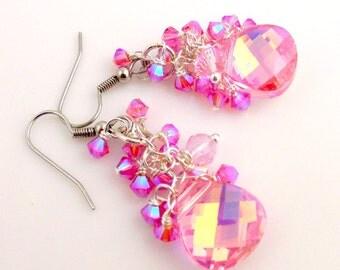 Pink Crystal Dangle Earrings, Drop Earrings, Beaded Earrings, Women's Jewelry, Gifts, Holiday Jewelry