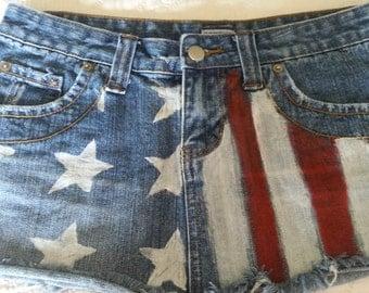 Hand Painted Stars and Stripes Patriotic Denim Mini Skirt Size 7/8