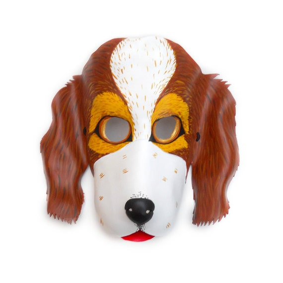 Dog Mask Halloween Leather Masks Costume Party Brown and White Cocker Animal Carnival Pet for Kids Boys Girls Children Adults Earth Day