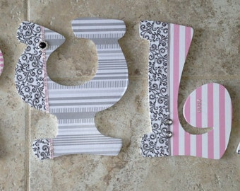 Custom Nursery Letters- Baby Girl Nursery Decor- Personalized Name- Wooden Hanging Letters - Nursery Wall Letters