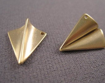 Airplane charm, Matte 16k Gold plated, Paper folded plane, plane charm, gold plane, D-006