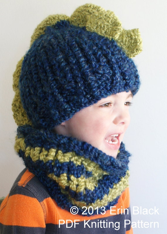Dinosaur Knit Hat Pattern : DIY Knitting PATTERN - Chunky Dinosaur Hat and Cowl in Toddler, Child and Adu...