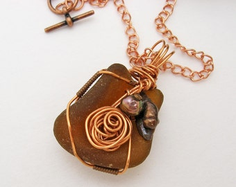 Sea Glass Pendant, Natural Sea Glass, Baroque Pearls, Coppery Brown, Wire Wrapped, Copper Wire, Handmade Necklace, Root Beer Tones