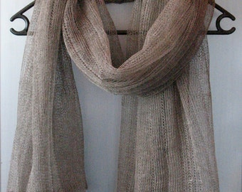 Linen Natural Gray Scarf Shawl Wrap Stole , Light, Transparent SALE