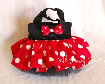 Red and Black Minnie Mouse Tote Bag
