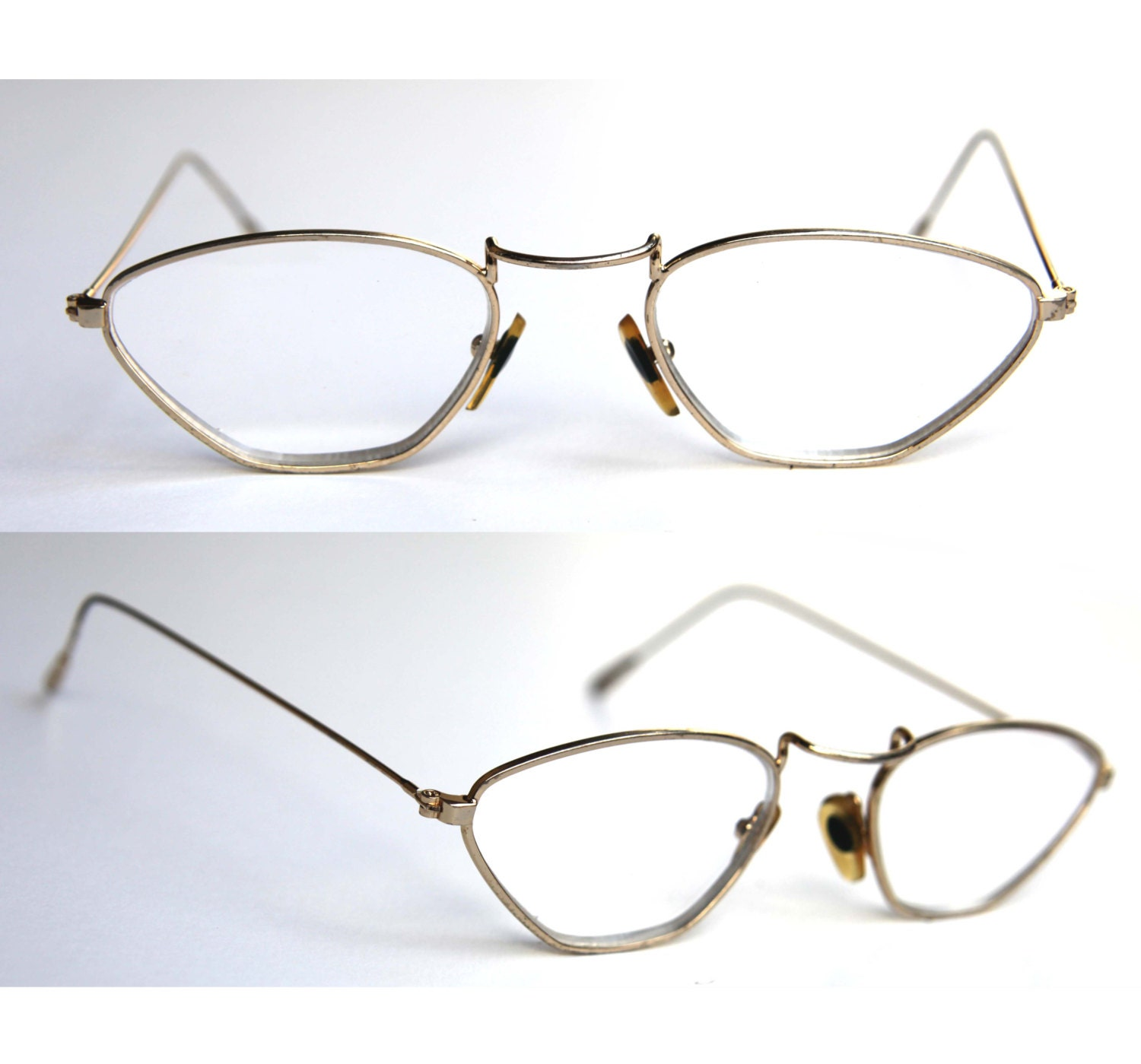 Vintage Trapezoid Wire Frame Eye Glasses Gold Lightweight Rim