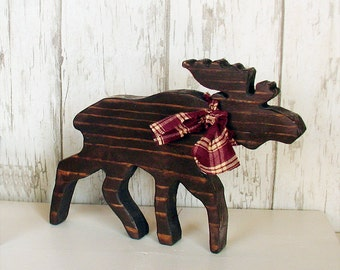 Rustic Wood Large Moose - Brown Primitive Lodge Moose