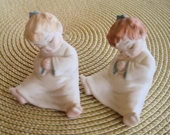 vintage adorable porcelain sleeping children set of 2 figurines blonde and redhead