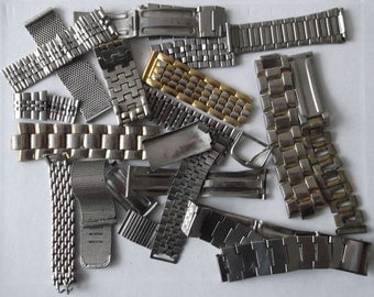 Vintage Antique Metal Watchbands and Parts -21 Pieces  Altered art Steampunk Assemblage