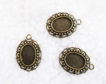 10 pcs 19x27mm-10x14mm Antique Bronze Oval Cameo Cabochon Base Setting Pendants Charm Jewelry Supplies A1524-5C