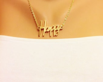 50% Sale, Happy Word Gold Necklace, Gold Plated Necklace, Stylish Necklace, Gold Jewelry, Gift, Birthday Gift, Gift gor Friend Girlfriend