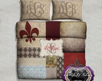 Vintage Fleur De Lis Bedding Custom Design and Personalized Comforter or Duvet with Monogram