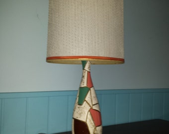 Mid Century Modern CHALK WARE #LAMP Fiberglass textured barrel shade mosaic southwest atomic