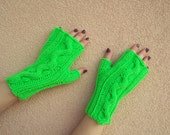 neon hand knitted mittens warm cozy cable