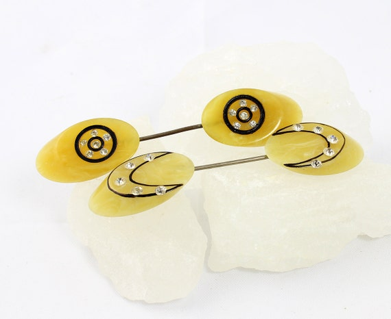 Art Deco Celluloid Matching Stickpins - Vintage Yellow Swirled - Rhinestone Accents - French