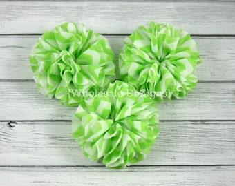 "SALE Lime Green Chevron Ballerina Twirl flowers - 2.5"" Chiffon Flowers - 2.5 inches DIY Flower"