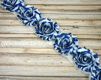 Royal Blue Stripe Shabby Chic Chiffon Flowers - One Yard Wholesale Lot Frayed Vintage Rosettes