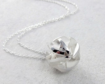 3D printed necklace in sterling silver, geometric ball pendant - Negative/Positive collection
