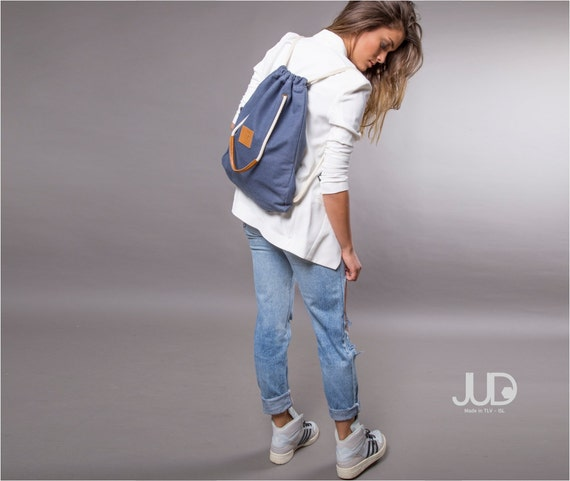Blue denim backpack purse multi way back bag sack bag SALE