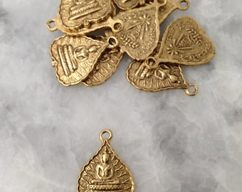 Tibetan Buddha Bodhi Leaf Charm, GOLD, Namaste, Lotus Position, Yoga, Inspirational, Pewter, Supplies