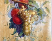 Decoupage FRUIT On The VINE 2 (two) Beverage size Paper Napkins Grapes Plums Red Yellow Blue