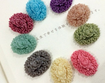 10pcs 18x24mm Mixed color resin flower