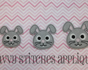 Bunny Head Feltie Machine Embroidery Design