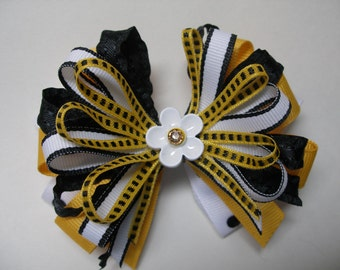 Black n Yellow Gold Hair Bow Polka dot Handmade Boutique Toddler girl