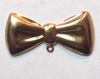 Set of 5 Gold-Plated Bow Tie Charm, Vintage Finding, for Jewelry, Altered Art, or Mixed Media
