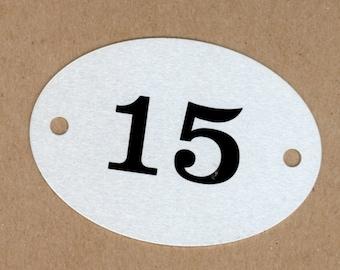Number 15, Vintage Heavy Aluminum Metal Number Plate, Round Large Locker Tag, Mixed Media Assemblage Art, Creative Reuse Jewelry, DIY Art