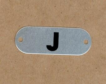 Letter J, Silver & Black Aluminum Metal Letter Tag, School Locker Plate for Altered Art, Mixed Media, Art Journals