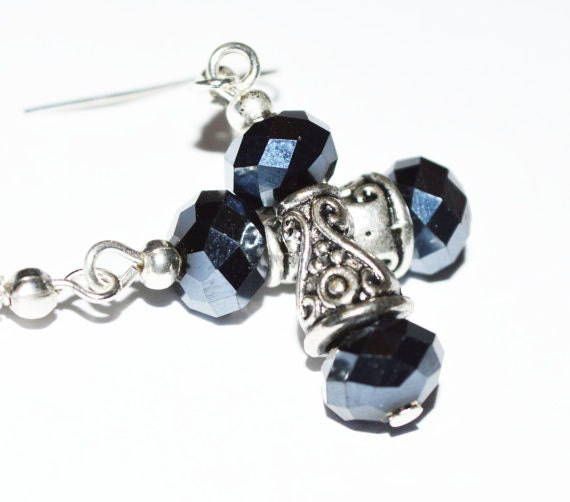Crystal beaded earrings silver antique earrings casual everyday feminine affordable earrings