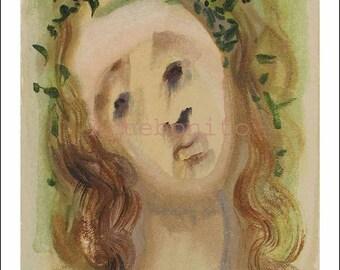 """Dali woodcut """"Purgatory 10 -Virgil's face""""  suite Divine Comedy"""