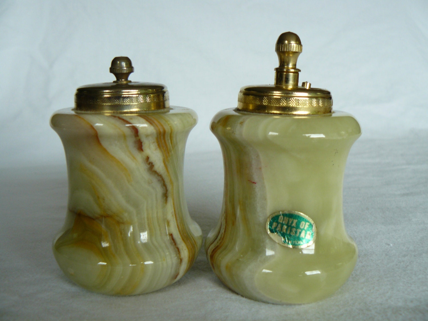 Vintage Onyx Salt And Pepper Shakers