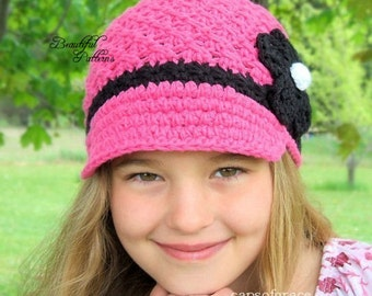 Crochet Hat Pattern Girl Crochet Hat Daisy Visor Newsboy Beanie Hat PDF 150 Newborn  to Adult  Photo Prop Instant Download