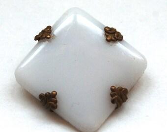 Antique White Milk Glass Brooch